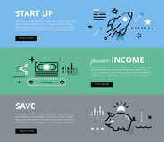 Start up. Passive Income. Save. Web banners  set Stock Image
