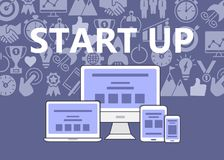Start up poster of outline icons set Stock Image