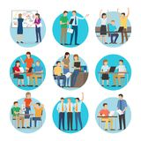 Start Up Poster with Workers Vector Illustration. Start up poster with workers in process of finding solution and creation plans, success and victory Royalty Free Stock Photo