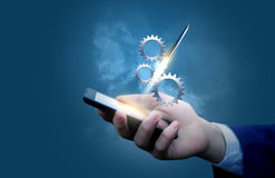 Start up project in the mobile. Start up project in the mobile design concept Royalty Free Stock Photography