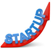 Start up. Red arrow with blue startup text Royalty Free Illustration