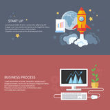 Start up rocket and business process Royalty Free Stock Photo