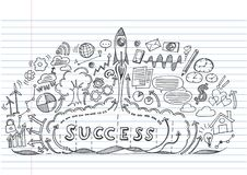 Start up rocket with business success doodle. Clouds on lined notebook paper.Doodle image. Stock Vector illustration Royalty Free Stock Photography