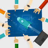 Start-up rocket company in technology hands around blueprint with sketch drawing. Vector royalty free illustration