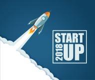 2018 Start up rocket concept. illustration design. Over a blue background Stock Image