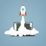 Start up rocket. Flat cartoon rocket flying from pc laptop representing start up project vector illustration