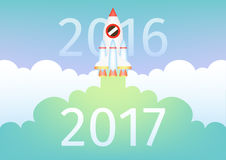 Start up rocket fly and bring new year 2017 strike through 2016. Business concept. Start up rocket fly  and bring new year 2017 strike through 2016. Business Royalty Free Stock Photo