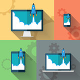 Start Up. Rocket flying from devices. Flat design vector illustration. Start Up. Rocket flying from devices. Flat design modern vector illustration concept royalty free illustration
