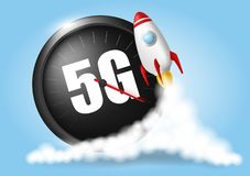 Start up rocket. Wireless network speed concept, speedometer 5G evolution. Blue sky and clouds background. Realistic vector stock illustration