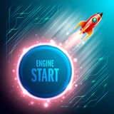 Start up Rrockets ship flying in the space.Vector Illustration Stock Photography