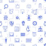 Start up seamless pattern. Business icons linear flat style Royalty Free Stock Photo
