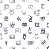 Start up seamless pattern. Business icons linear flat style Stock Images