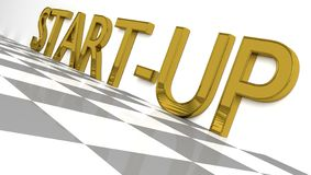 Start up sign in golden glossy letters. Start up sign in gold and glossy letters on a white background and a checkerboard pattern floor for an interesting header stock illustration