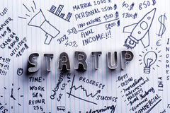 Start up sign on paper background with handwritten notes Royalty Free Stock Photos