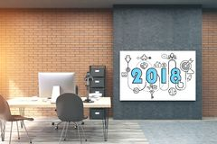 2018 and start up sketch in a brick office. 2018 and a business sketch drawn on a poster in a brick office room. Concept of planning in business. 3d render Stock Photography