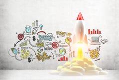 Start up sketch and rocket Stock Photos