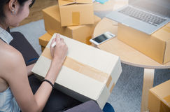 Online marketing packaging box and delivery, SME concept Royalty Free Stock Photo