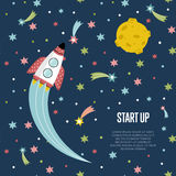 Start up Space Cartoon Vector Web Banner Stock Images