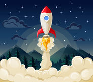 Start up space rocket ship in flat style. Flat vector illustration concept of space rocket ship startup on dark background of mountains and starry sky