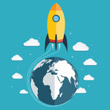 Start up the space rocket into space Royalty Free Stock Photo