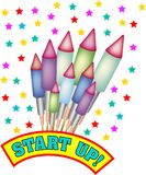 Start up with stars and bottle rockets. Bunch of bottle rockets with many colorful stars and the words `Start Up`. Also available as eps-file Royalty Free Stock Images