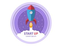 Start up. Take off the rocket. Symbol of successful business start. stock illustration