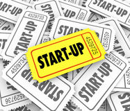 Start-Up Winning Ticket Best New Company Business Launch Competi Royalty Free Stock Photography