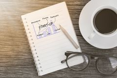Start up word on notebook, Business concept. Royalty Free Stock Photos