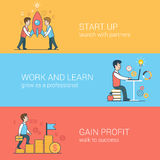 Start Up, Work And Learn, Gain Profit Flat Web Vec Royalty Free Stock Images