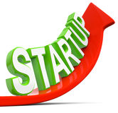 Start uup. Red arrow with green start up text Vector Illustration