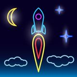Start van een raketneon stock illustratie