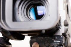 Start video recording. Cameraman push the start rec button in front of dv-cam camera Stock Photos