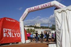 Start village on Place Bellecour Stock Photo