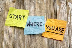 Start where you are advice Royalty Free Stock Images