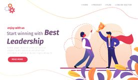 Start Winning with Best Leadership Banner. Success royalty free illustration