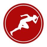 Start woman runner from starting blocks. Sports sign icon start woman runner from starting blocks vector illustration