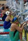 Start of women backstroke swimming competition during Salnikov Cup Royalty Free Stock Images