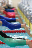 Start of women backstroke swimming competition during Salnikov Cup Stock Photos