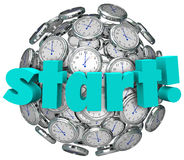 Start Word Clocks Time Begin Game or Challenge Royalty Free Stock Image