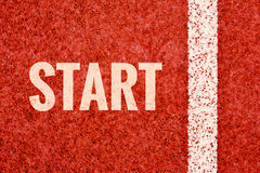 Start word on running track. In stadium Royalty Free Stock Images