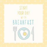 Start your day with breakfast card. Vector EPS 10 hand drawn illustration Royalty Free Stock Images