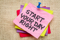 Start your day right reminder note Royalty Free Stock Image