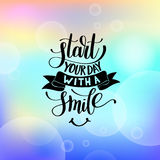 Start Your Day With a Smile vector Text Phrase Illustration on b Stock Photos