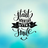 Start Your Day With a Smile vector Text Phrase Illustration Royalty Free Stock Photos