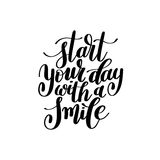 Start Your Day With a Smile Vector Text Phrase Illustration Royalty Free Stock Image