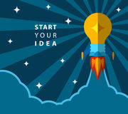 Start your idea, creative poster with light bulb transformed into rocket Stock Photo