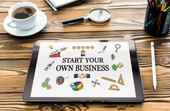 Start Your Own Business Concept on Digital Tablet stock photos