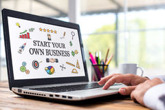 Start Your Own Business Concept On Laptop Monitor Stock Photography