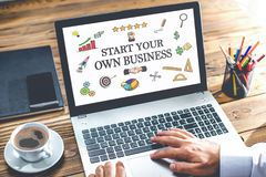 Start Your Own Business Concept On Laptop Monitor Stock Photos