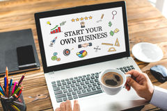 Start Your Own Business Concept On Laptop Monitor. Start Your Own Business Concept With Various Hand Drawn Doodle Icons On Laptop Screen stock photo